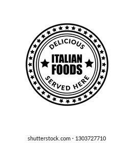 Delicious Italian Foods vintage stamp, served here