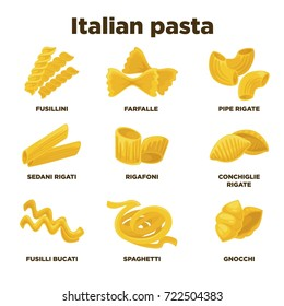 Delicious Italian pasta types of high quality illustrations set