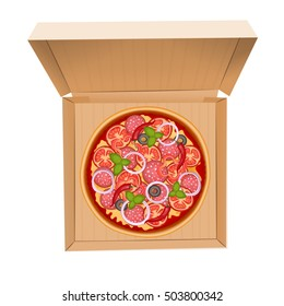 Delicious italian pizza with salami, sweet pepper, olive, cheese, tomato, chili, onion and basil. Tasty pizza in box isolated on white. Pizza box delivery service. Vector Illustration.