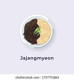 Delicious Jajangmyeon / Black Bean Sauce Noodles vector illustration from top view, South Korea dish vector