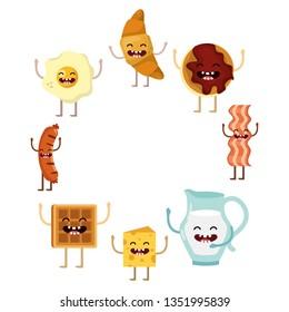 delicious kawaii breakfast cartoon