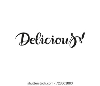 Delicious lettering hand draw write isolated on white background. Vector illustration.