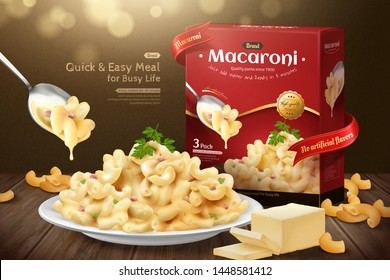 Delicious macaroni ads with product package on wooden table in 3d illustration