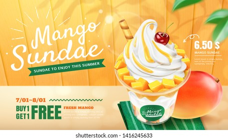 Delicious mango sundae ads with fresh fruit on wooden plate background in 3d illustration