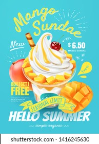 Delicious mango sundae poster ads with fresh fruit in 3d illustration