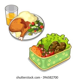 A delicious meal of meat and vegetables. Food isolated on a white background. Vector illustration.