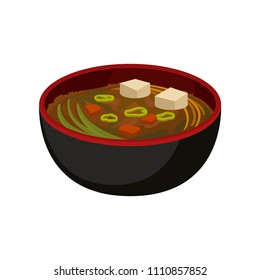 Delicious miso soup in black bowl. Traditional Japanese dish. Flat vector element for promo poster, cafe or restaurant menu