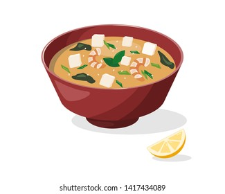 Delicious miso soup in red bowl. Traditional Japanese dish. Flat vector element for poster, cafe or restaurant menu, wallpaper, background. Tofu vector. Miso vector.