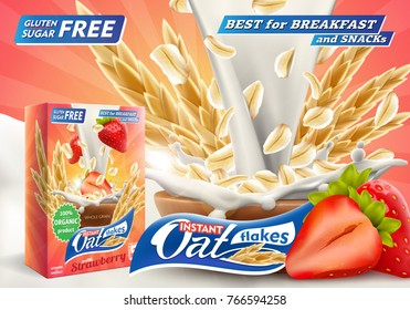 Delicious Oat flakes with raw strawberry and big milk splash advertising flyer vector illustration. Packaging carton design samle. High quality art for ads broshure, poster or label