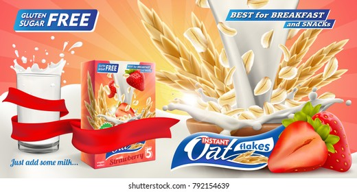 Delicious Oat flakes with raw strawberry and big milk splash in glass advertising flyer vector illustration. Packaging carton design sample. High quality art for ads broshure, poster or label