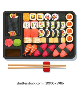Delicious oriental takeaway sushi set on partitioned obento tray with chopsticks. Japanese maki, temaki, sashimi, uramaki, nigiri. Bright asian sushi set top view. Flat vector isolated illustration