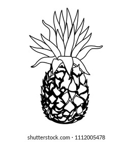 Delicious pineapple fruit in black and white