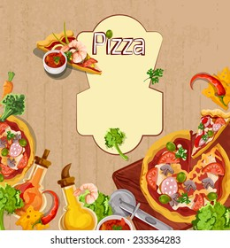 Delicious pizza cut food slices and seasoning background template vector illustration