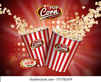 Delicious popcorn flying out of cardboard box which is white and red striped isolated on red illuminated background in 3d illustration