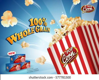 Delicious popcorn flying out of cardboard box isolated on blue striped background in 3d illustration