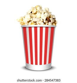 Delicious realistic cinema theater popcorn can, isolated on white background. Vector illustration.