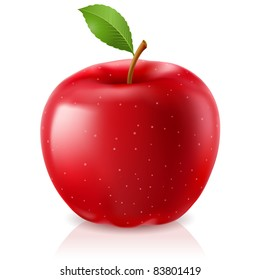 Delicious red apple. Illustration on white background