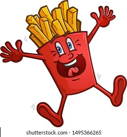 A delicious red box of golden french fries cartoon character dancing with excitement