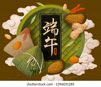 Delicious rice dumplings and its ingredients in top view angle, dragon boat festival written in Chinese characters