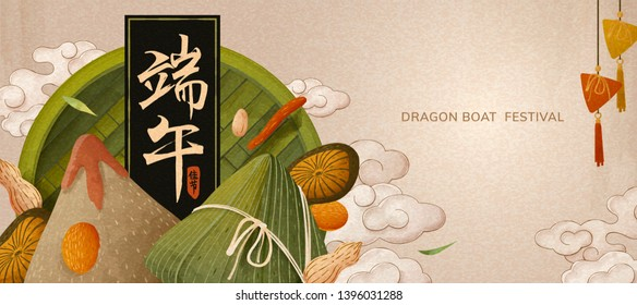 Delicious rice dumplings on bamboo sieve, dragon boat festival written in Chinese characters