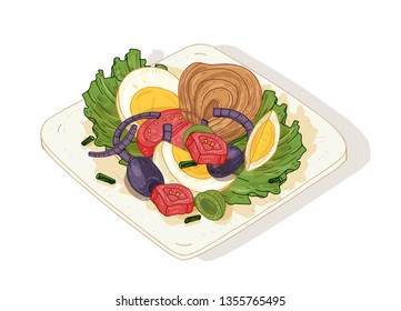 Delicious salad with vegetables and fish on plate isolated on white background. Tasty wholesome dish made of anchovies, tomatoes, eggs, olives. Dietary nutrition. Hand drawn vector illustration.