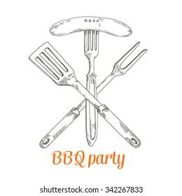 delicious sausage, bbq party, vector illustration