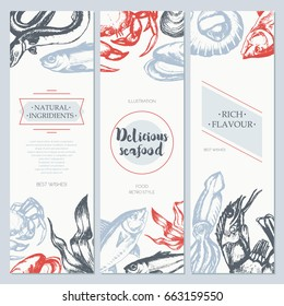 81c18ea44b Delicious Seafood - three piece color vector hand drawn square banner  template with copy space.