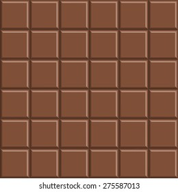 Delicious seamless chocolate bar background, vector illustration