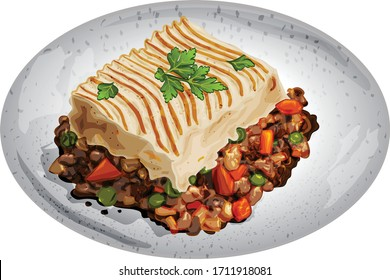 Delicious Shepherd's Pie in A Plate Illustration