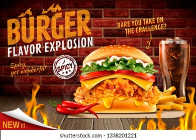 Delicious spicy fried chicken burger ads with burning fire and set menu in 3d illustration
