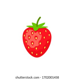 Delicious strawberry icon flat design. Vector illustration isolated on white background