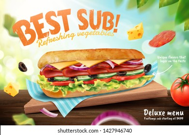 Delicious submarine ads with flying vegetables on nature bokeh background in 3d illustration