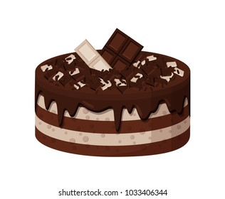Delicious sweet cake with white and dark chocolate layers with small bars on top. Tasty confectionery product isolated cartoon vector illustration.