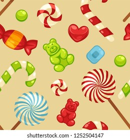Delicious sweet candies in bright covers and lollipops in shape of cute hearts, striped cane and small teddy in seamless pattern isolated cartoon flat vector illustrations set inside squares.