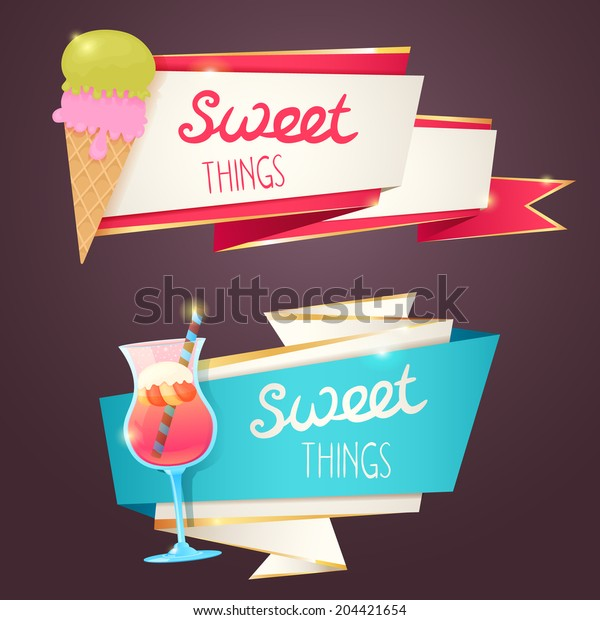 Delicious sweet set of glittering and sparkling banners with dessert, ice-cream, cupckates and tasty toppings