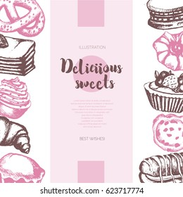 Delicious Sweets - color vector hand drawn composite banner with copyspace. Realistic pastry, cake, macaroon, croissant, pretzel, cookie, cupcake, muffin, eclair.