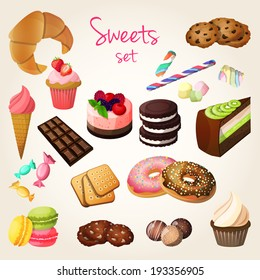 Delicious sweets and fresh pastry set of croissant ice cream cookies isolated vector illustration