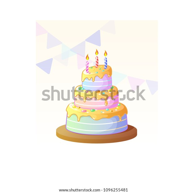 Miraculous Delicious Tier Birthday Cake Color Fruit Stock Vector Royalty Personalised Birthday Cards Cominlily Jamesorg