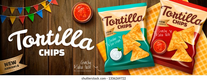 Delicious tortilla chips ads with salsa sauce and package on wooden table background in 3d illustration