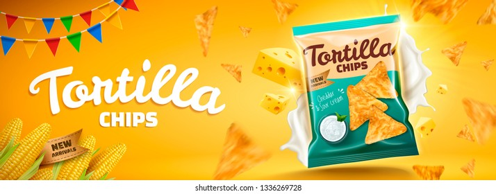 Delicious tortilla chips banner ads with flying cheese and cookies on yellow background in 3d illustration