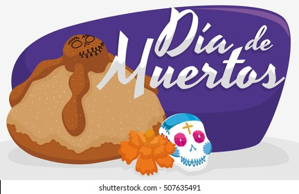 "Delicious and traditional Mexican dead bread, with a little sugar skull and marigold flower for ""Dia de Muertos"" (Spanish for ""Day of the Dead"")."