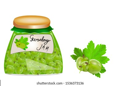 Delicious vegan jam in a jar, made of ripe juicy gooseberry, fresh berries with leaves, isolated. Glass jar with gooseberry,jam on white background. Label for jam. Mockup for your brand illustration