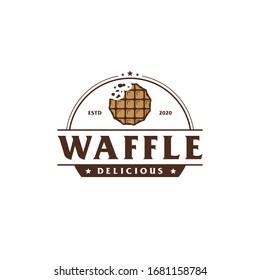 Delicious waffle badge vintage logo