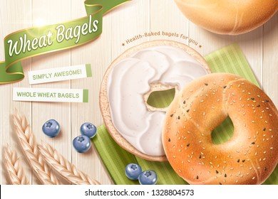 Delicious wheat bagel ads with cream and blue berries on wooden background in 3d illustration