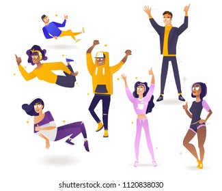 Delight and amorous young people with thumbs up gesture set - happy and smiling men and women cartoon characters with pleasant and positive emotions in vector illustration.