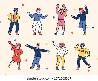 A delightful dancing people decoration set. flat design style minimal vector illustration