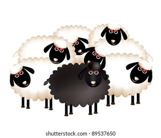 A delightful group of sheeps cartoon.