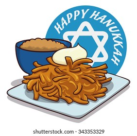 Delightful traditional latke dish for Hanukkah with apple sauce and circle with happy holiday message.