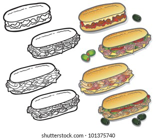 Deli-Sub Icons Selection of delicious vector icon illustrations on a Deli sandwich theme. Easy to edit layers included, why not visit my portfolio�