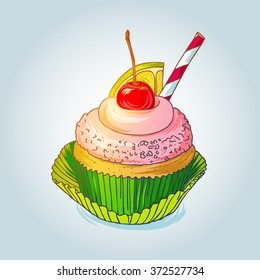 Delitious cupcake with cherry and lemon isolated on light background